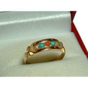 SALE Pretty Victorian(Birmingham 1879) 15ct Gold Turquoise, Orange Coral + Split Seed-Pearl ..