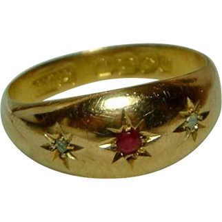 SALE Lovely Antique{Birmingham 1911} 18ct Gold 3-Stone Diamond + Ruby Gemstone Ring.