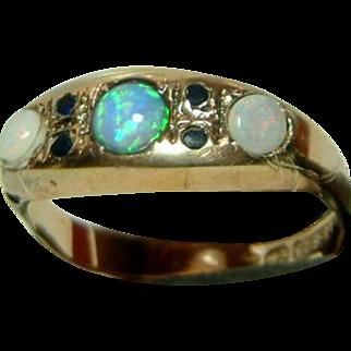 SALE Decorative Victorian{Birmingham 1897} 15ct Gold Sapphire + Opal Gemstone Ring{0.4ct Opal Weight}