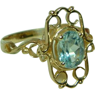 SALE Superb Antique 15ct Gold Blue Topaz Gemstone Ring