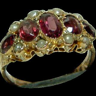 SALE Ornate Antique 15ct Gold Almandine Garnet  + Split Seed-Pearl Gemstone Ring.