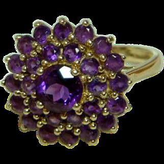 SALE Attractive Vintage 9ct Gold Amethyst Gemstone Cluster Ring.