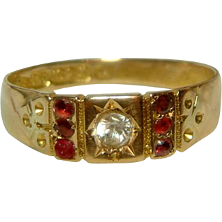 Attractive Victorian{Chester 1884} 15ct Gold White Topaz + Ruby Gemstone Ring.
