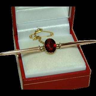 SALE Antique 9ct Rose Gold Garnet Gemstone Bar Brooch With Safety Chain.