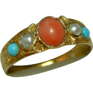 SALE Ornate Antique 18ct Gold 5-Stone Orange Coral, Split Seed-Pearl + Turquoise Gemstone Ring