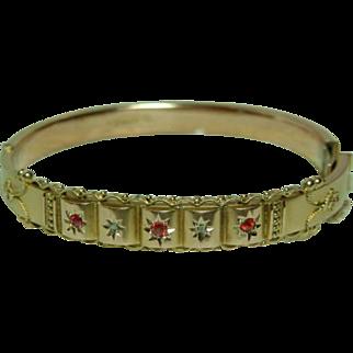 SALE Decorative{Birmingham 1920} 9ct Rose Gold Diamond + Ruby Gemstone Hollow Bangle Bracelet With Safety Chain.