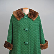 Forest Green 50's Swing Coat With Faux Fur On Collar And Cuffs.