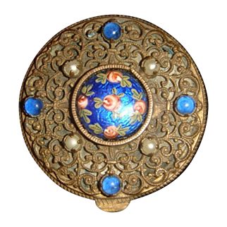 French Guilloche Enamel Compact