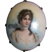 SALE Antique Limoges Portrait Brooch Queen Louise of Prussia