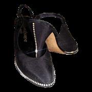 Yves Saint Laurent Heels Rhinestone Slingback Original Box Vintage Couture Designer