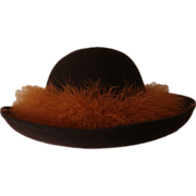 SOLD Miss Schiaparelli Wool and Marabou Feather Vintage Hat