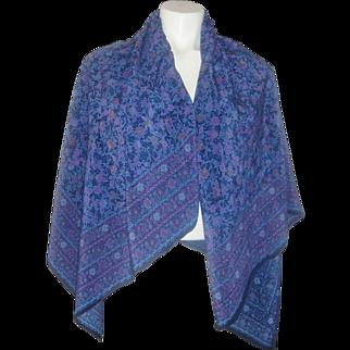 Yves Saint Laurent Huge Vintage Silk Scarf Designer Birds and Flowers