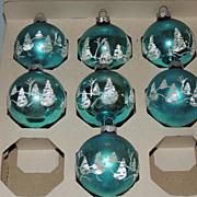 Vintage Shiny Brite Christmas Ball Ornament w Mica Snow Trees