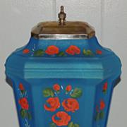Vintage Hand Painted Depression Satin Glass Dispenser Samovar