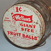 RARE Wellons Fruit Balls Candy Display Jar Dunn NC