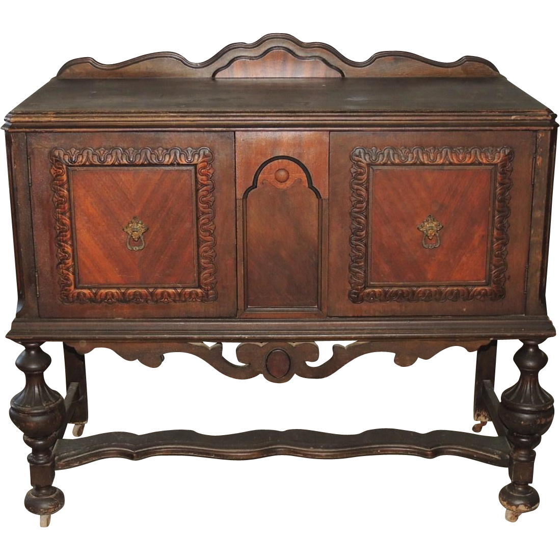 Jacobean Renaissance Revival Walnut Sideboard Buffet