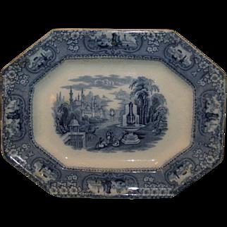 Blue & White Transferware Staffordshire Platter 19th Century Stoke-on-Trent England