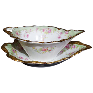 Limoges Blakeman & Henderson  Porcelain Hand Painted Gravy Sauce Boat with Underplate