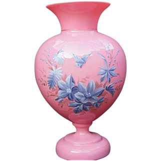Cased Opaline Glass Vase Enameled Butterfly French Pink