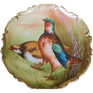 SALE Limoges Borgfeldt Porcelain Plate Game Birds Pheasants Artist Signed