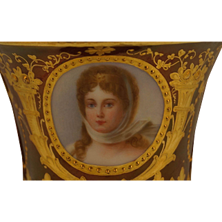 REDUCED Ambrosius Lamm Porcelain Portrait Demitasse Cup and Saucer of the Queen Louise of Prussia