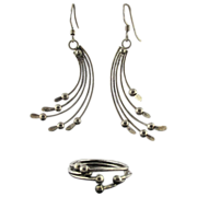 Vintage Sterling Silver Modernist Ring And Earrings Set