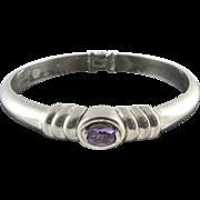 Vintage Sterling Silver Amethyst Hinged Bangle Bracelet