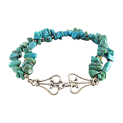 Vintage Two Strand Turquoise Nugget Bracelet With Sterling Silver Clasp