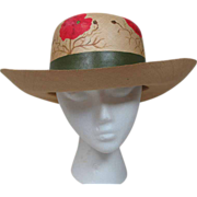 Vintage 1980's Hand Painted Floral Straw Hat