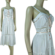 1970's Young Edwardian Belted Sundress