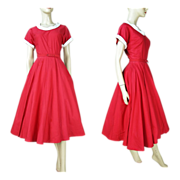 1950's Belted Cotton Day Dress Fashioned By Lampl