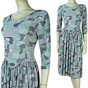 1940's Printed Rayon Crepe Dress