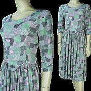 1940's Printed Rayon Crepe Dress
