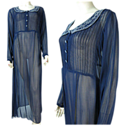 1940's Chiffon Dress With Beaded Collar