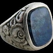 Vintage Floral Carved Sterling Silver Blue Agate Ring Size 3 3/4