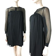 1960's Silk Chiffon Cocktail Dress With Slubbed Silk Underdress