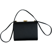 1960's Saks Fifth Avenue Black Satin Evening Bag / Shoulder Bag With Simulated Pearl Clasp