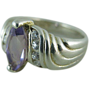 Vintage Sterling Silver Amethyst Ring Size 7 1/2