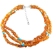 Vintage Sterling Silver Amber Nugget And Turquoise Three Strand Necklace