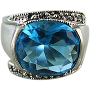 Vintage Sterling Silver Topaz Blue Glass Stone Ring Size 9