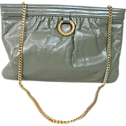 1960's Morris Moskowitz Gray Leather Shoulder Bag / Clutch