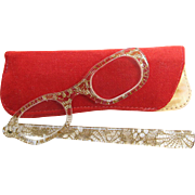 Vintage 1950's Lucite And Gold-Tone Lace Folding Lorgnette With Velvet Case