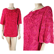 Vintage Lord & Taylor Magenta Lace Blouse