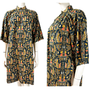 1970's Printed Cotton Tunic Blouse