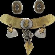 Vintage Marjorie Baer Mixed Metal Modernist Brooch And Clip Earrings Set