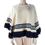 1970's Hand-Knit Cape/Poncho