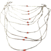 Vintage Native American Ten Strand Liquid Silver And Coral Bead Necklace