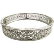 Vintage Silver - Tone Filigree Hinged Bangle Bracelet