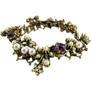 Vintage Book Chain Bracelet With Simulated Pearls And Amethyst Glass Stones