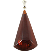 Vintage Genuine Honey Amber Pendant With Sterling Silver Bail
